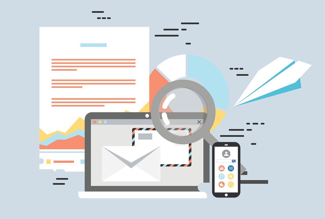 graphic of email marketing on laptop