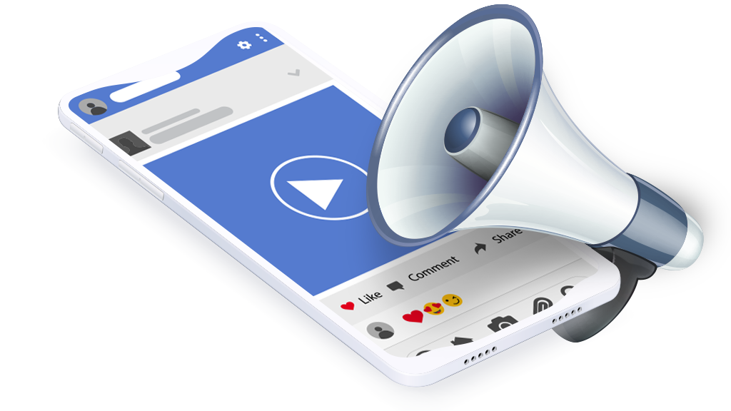 Cell phone showing a facebook ad with a megaphone