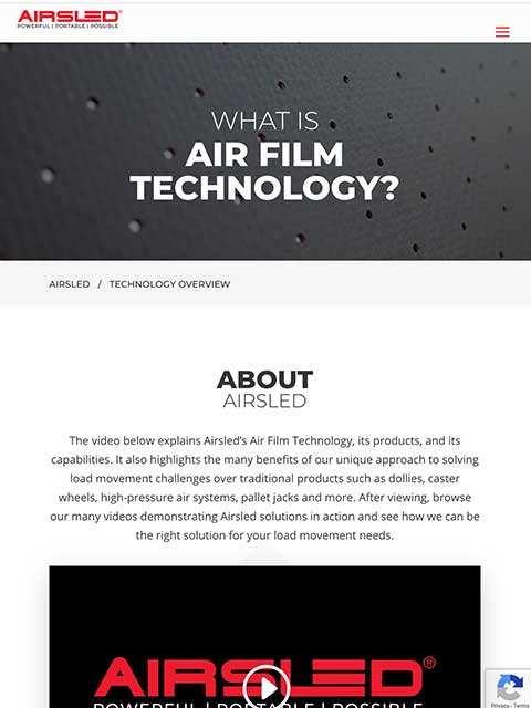 Airsled Website Tablet View Example