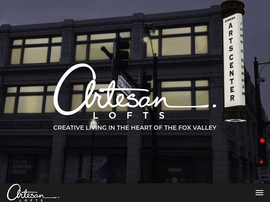 Artesan Lofts website homepage example