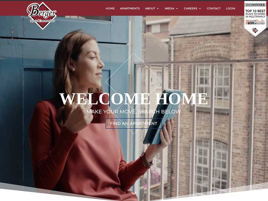 Berger Rental Communities website homepage example
