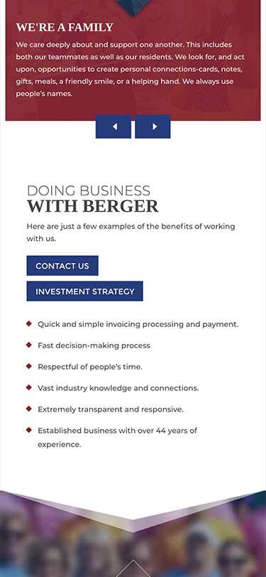 Berger Rental Communities Website Mobile View Example