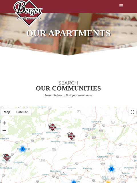 Berger Rental Communities Website Tablet View Example