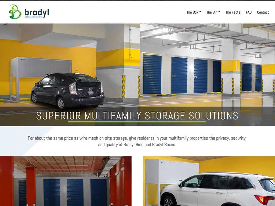 Bradyl Storage Solutions website homepage example