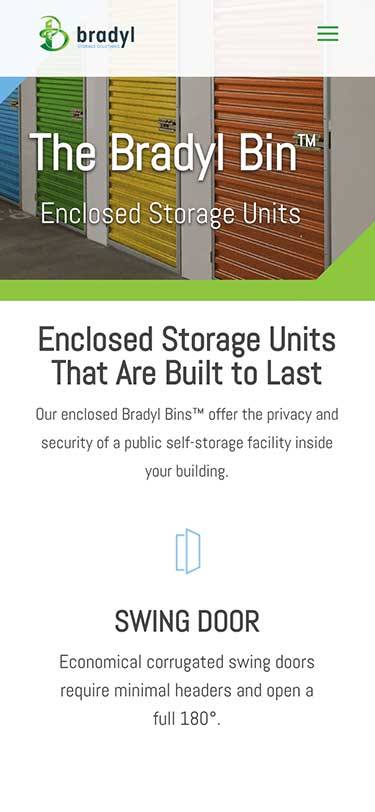 Bradyl Storage Solutions Website Mobile View Example