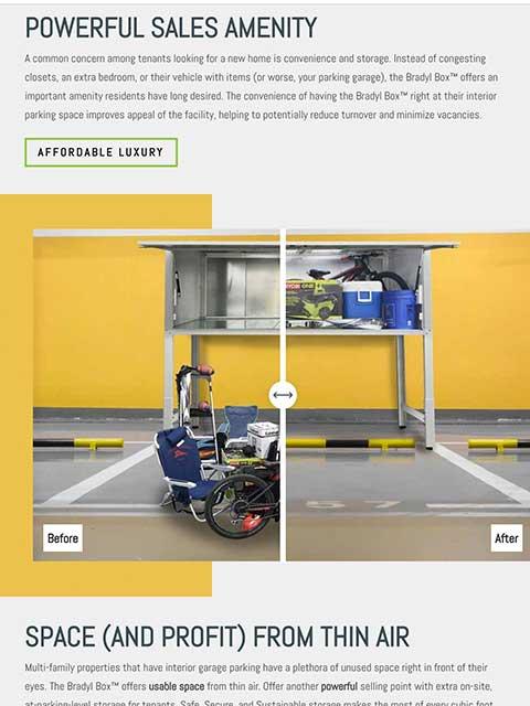 Bradyl Storage Solutions Website Tablet View Example
