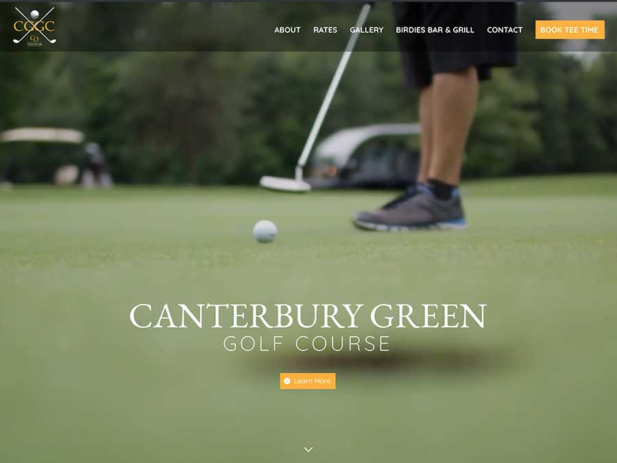 Canterbury Golf Course website homepage example
