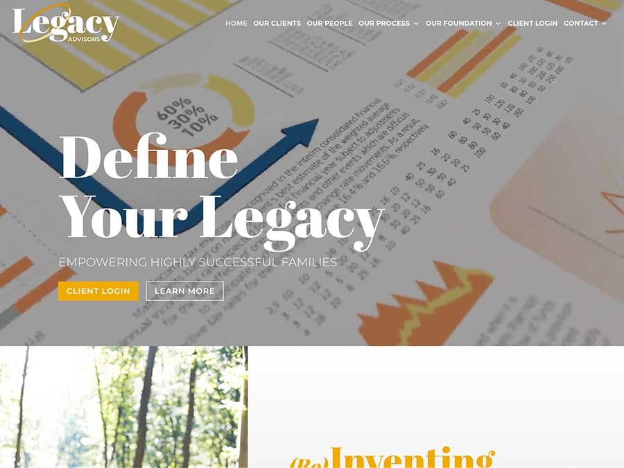 Legacy Advisors website homepage example