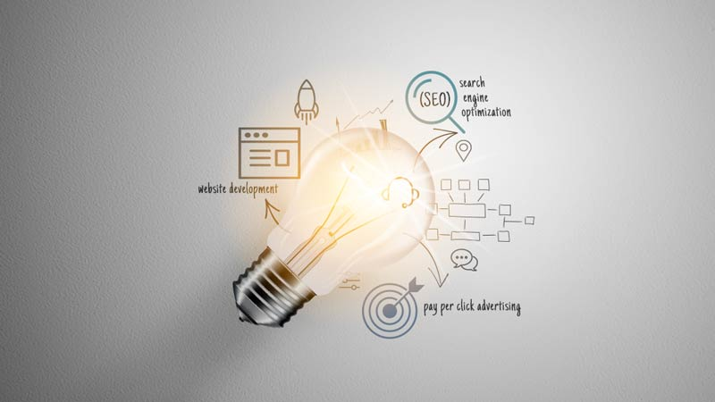 Lightbulb with text and icons centered around SEO, PPC, and Web Development