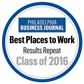 Philadelphia Business Journal Best Places to Work Award - Class of 2016