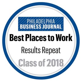 Philadelphia Business Journal Best Places to Work Award - Class of 2018