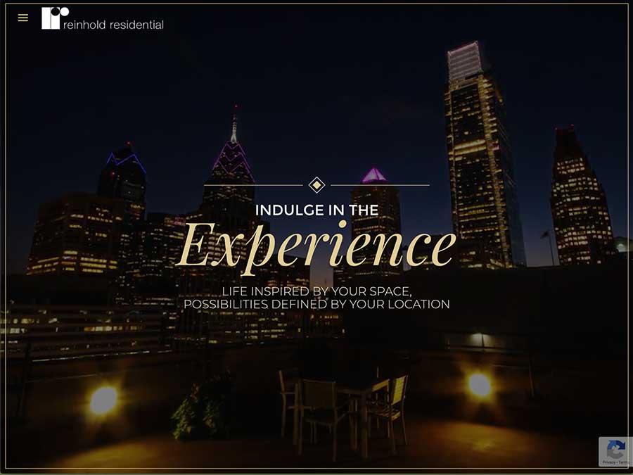 Reinhold Residential website homepage example