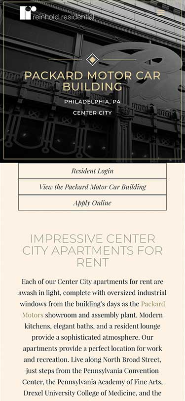 Reinhold Residential Website Mobile View Example