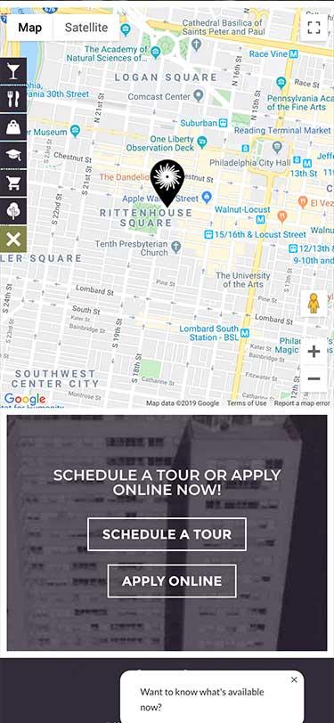 Rittenhouse Claridge Website Mobile View Example