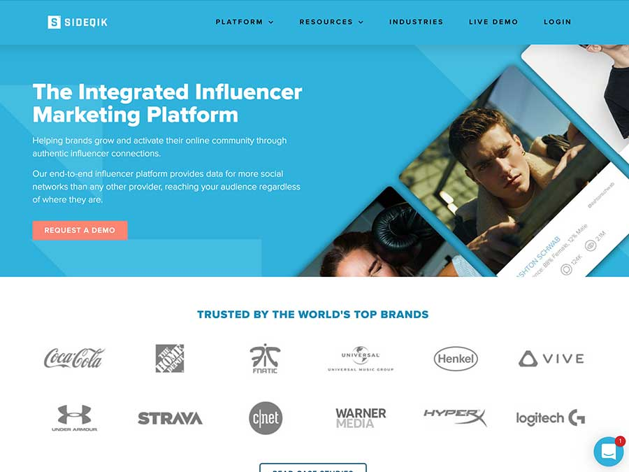 Sideqik website homepage example