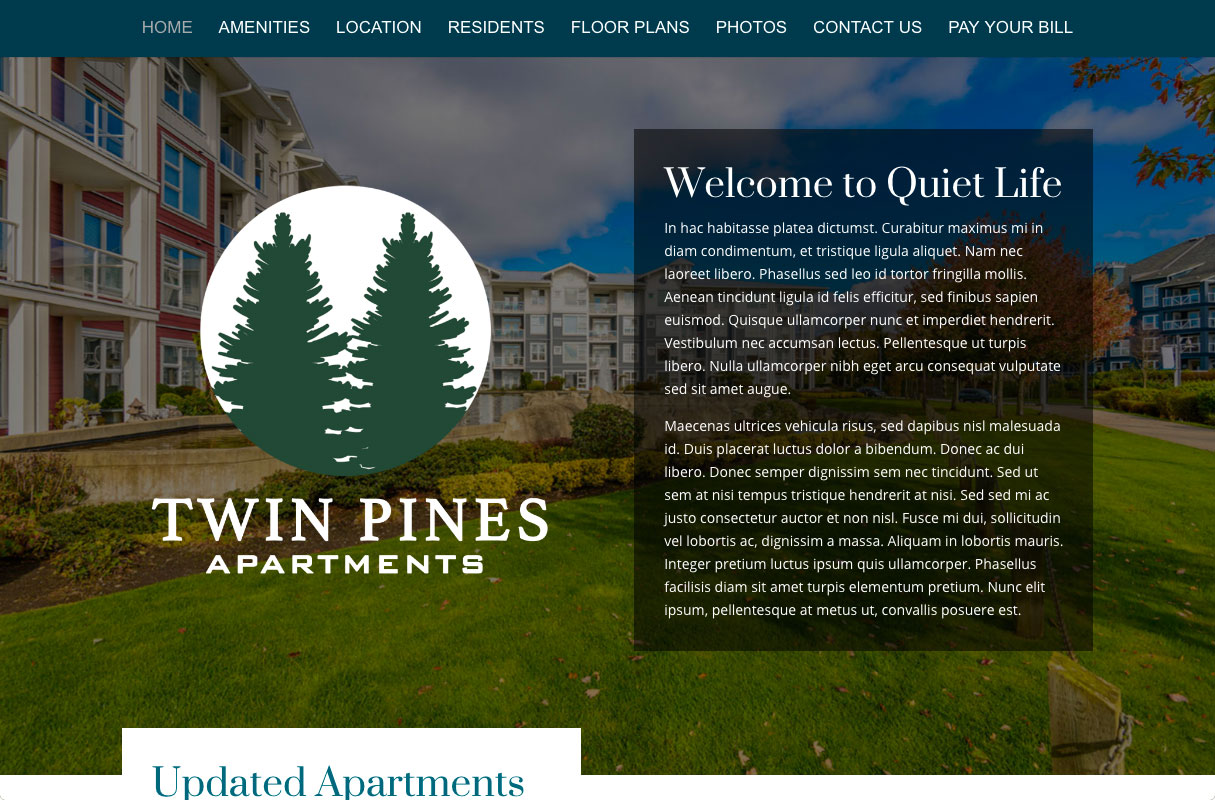 Twin Pines Website theme screenshot