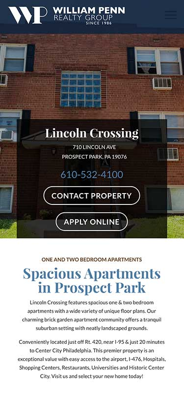William Penn Realty Website Mobile View Example