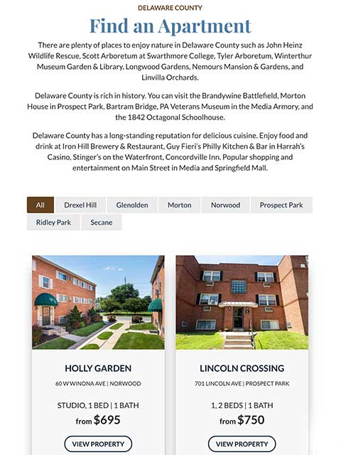 William Penn Realty Website Tablet View Example