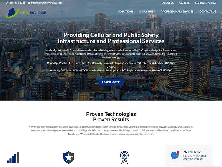 Newbridge Wireless website homepage example