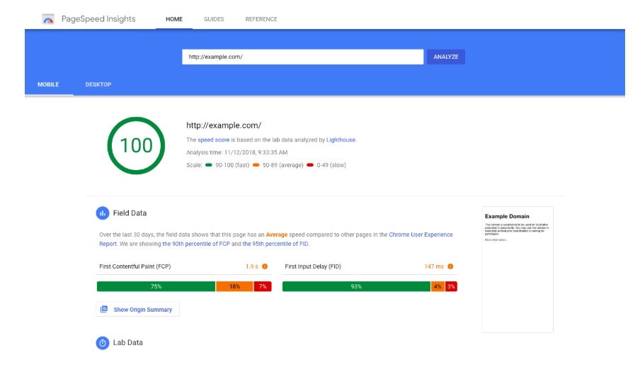 Google Page Speed Insights - Website Speed Report