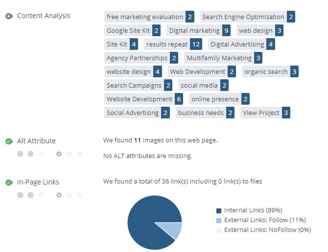 Woorank's SEO & Website Analysis Tool - Free SEO Analysis Tool Screen Shot