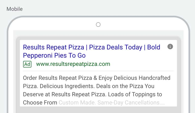 A screen shot of an example ad for Results Repeat showing how Keyword Insertion Works