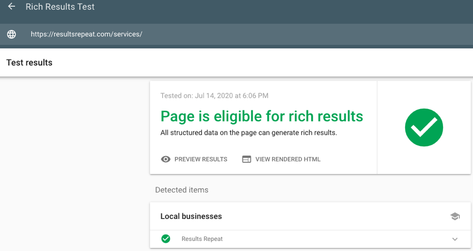 results showing rich snippet eligibility from Google's Rich Results Test tool
