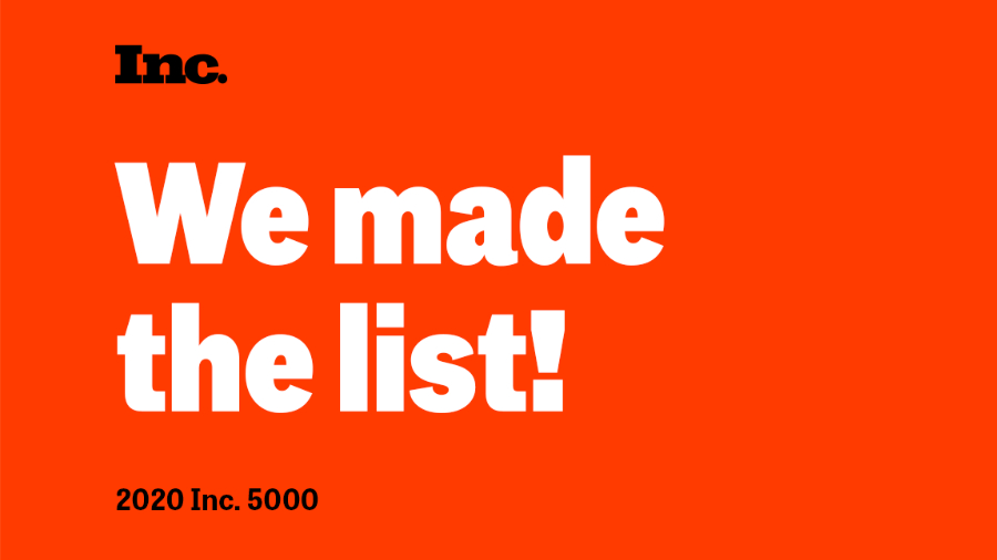 """text image for Results Repeat making the Inc 5000 list saying """"We made the list! 2020 Inc 5000"""""""