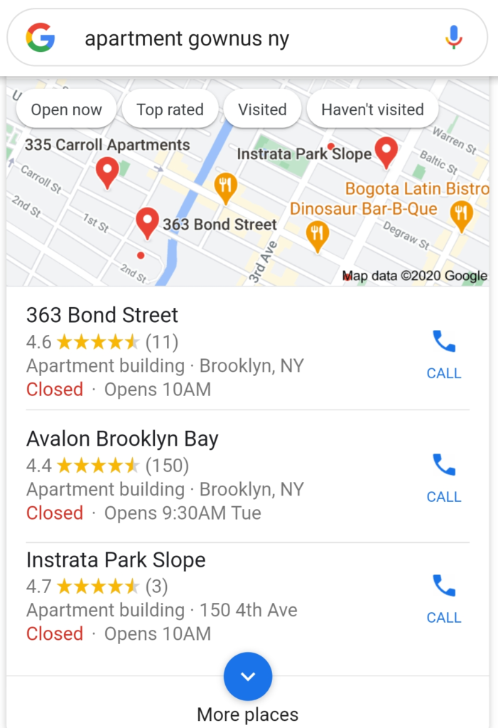 Apartment Search Maps Mobile View