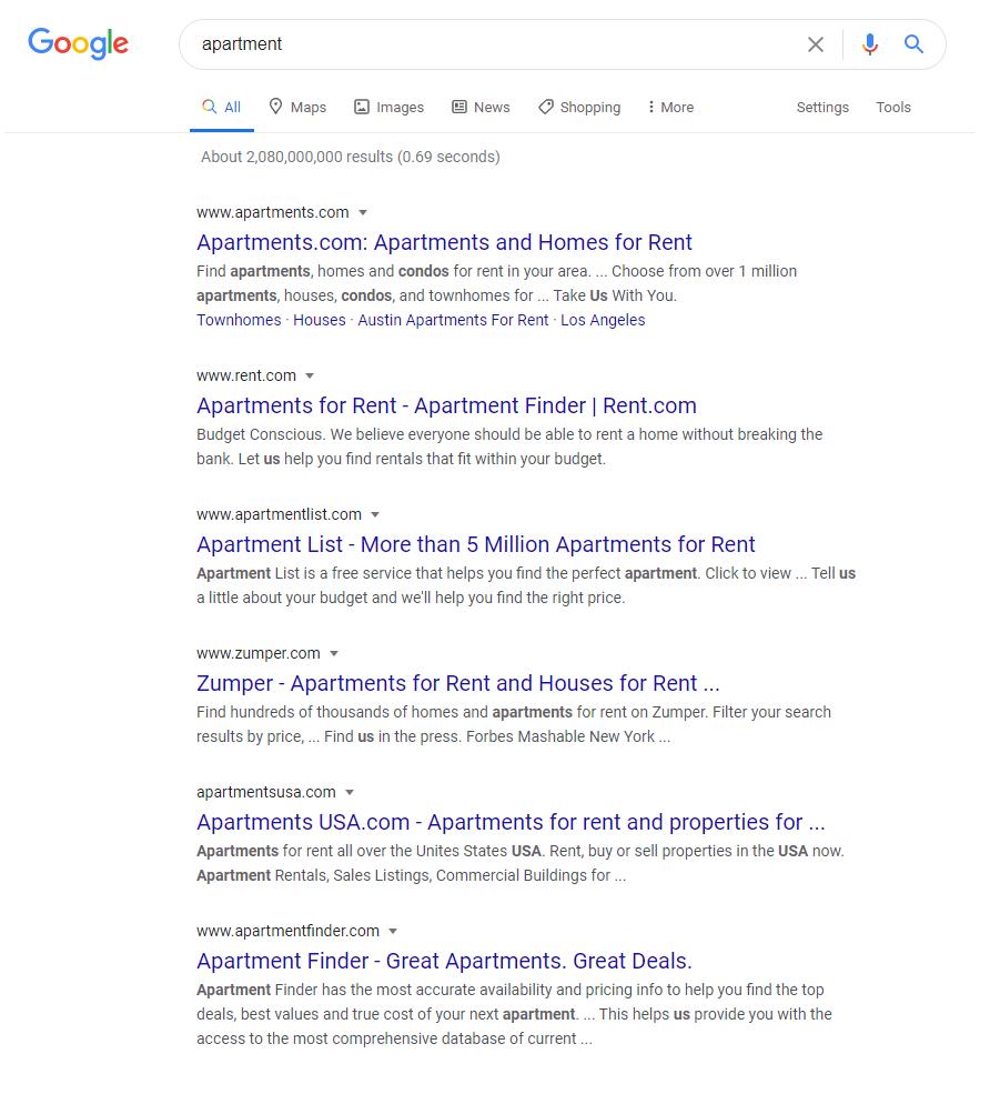 Apartment Search Queries Google SEO
