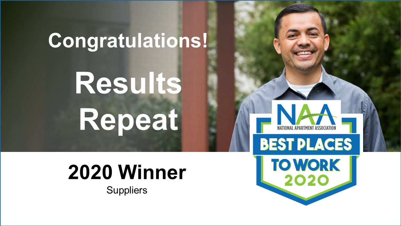 a graphic congratulating Results Repeat on being a 2020 NAA Best Place To Work