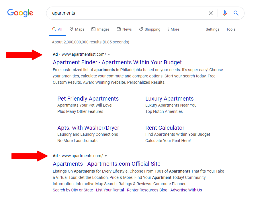 SERP Ads Google Search