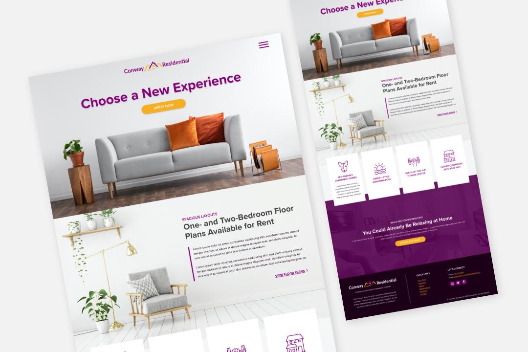 Conway template website design mock up