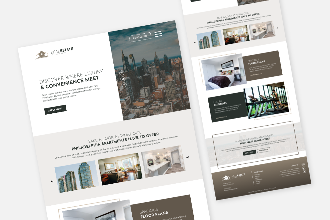 RealEstate II website template mock up