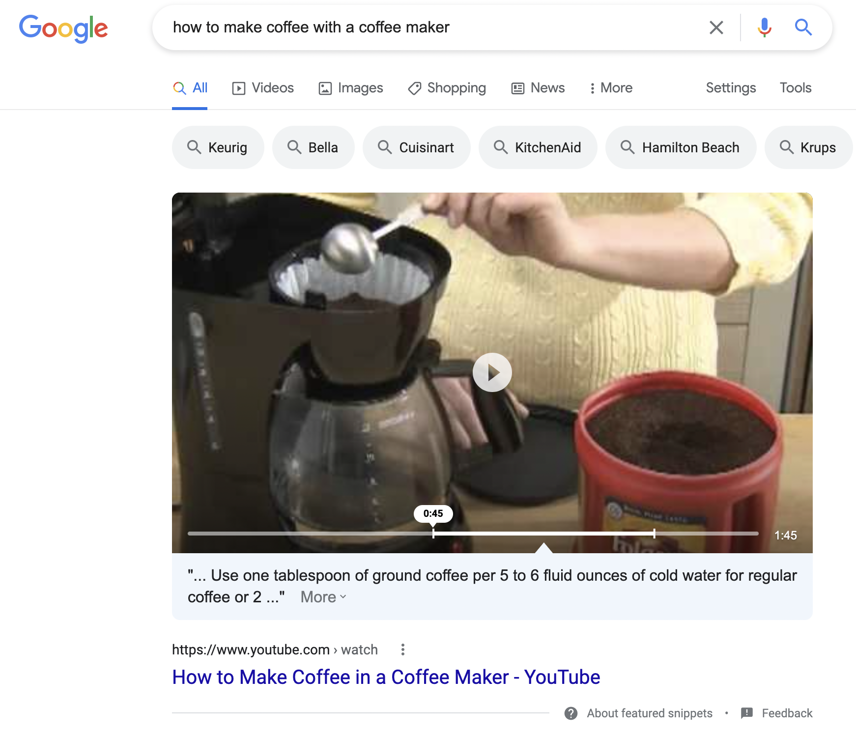 A screenshot of a Featured Snippet Video on how to make coffee with a coffee maker